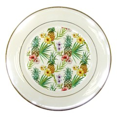 Tropical Pineapples Pattern Porcelain Plates