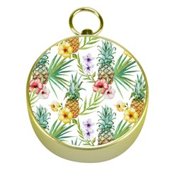 Tropical Pineapples Pattern Gold Compasses by goljakoff
