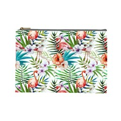 Tropical Flamingos Cosmetic Bag (large) by goljakoff