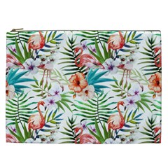Tropical Flamingos Cosmetic Bag (xxl) by goljakoff