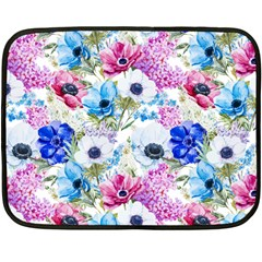 Blue And Purple Flowers Double Sided Fleece Blanket (mini)  by goljakoff