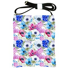 Blue And Purple Flowers Shoulder Sling Bag