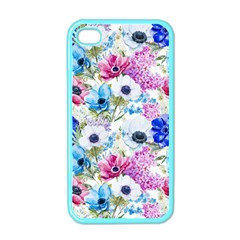 Blue And Purple Flowers Apple Iphone 4 Case (color)