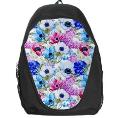 Blue And Purple Flowers Backpack Bag by goljakoff