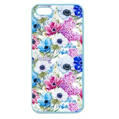 Blue And Purple Flowers Apple Seamless Iphone 5 Case (color) by goljakoff