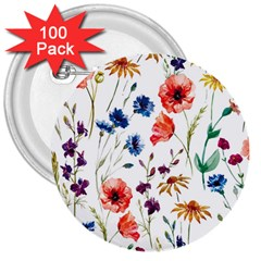 Rainbow Flowers 3  Buttons (100 Pack)  by goljakoff