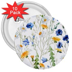 Blue And Yellow Flowers 3  Buttons (10 Pack)  by goljakoff