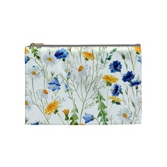 Blue And Yellow Flowers Cosmetic Bag (medium)