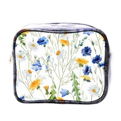 Blue And Yellow Flowers Mini Toiletries Bag (one Side)