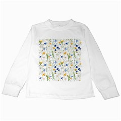 Blue And Yellow Flowers Kids Long Sleeve T Shirts by goljakoff
