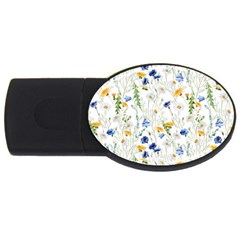 Blue And Yellow Flowers Usb Flash Drive Oval (4 Gb)