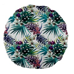 Monstera Flowers And Leaves Large 18  Premium Flano Round Cushions