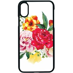 Watercolor Flowers Apple Iphone X Seamless Case (black)
