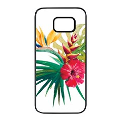Watercolor Flowers Paint Samsung Galaxy S7 Edge Black Seamless Case