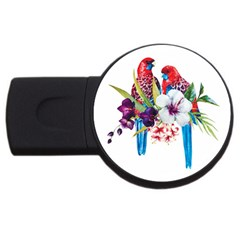 Parrots Painting Usb Flash Drive Round (2 Gb) by goljakoff