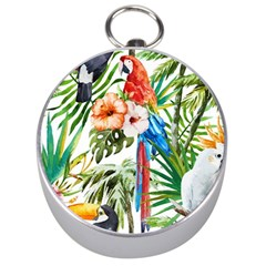 Tropical Parrots Silver Compasses by goljakoff