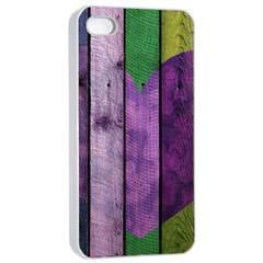 Wood Wall Heart Purple Green Apple Iphone 4/4s Seamless Case (white) by snowwhitegirl
