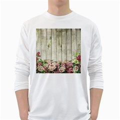 Floral Wood Wall Long Sleeve T-shirt by snowwhitegirl