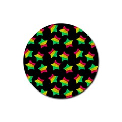 Ombre Glitter Pink Green Star Pat Rubber Round Coaster (4 Pack)