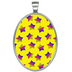 Ombre Glitter  Star Pattern Oval Necklace by snowwhitegirl
