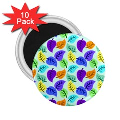 Colorful Leaves Blue 2 25  Magnets (10 Pack)  by snowwhitegirl