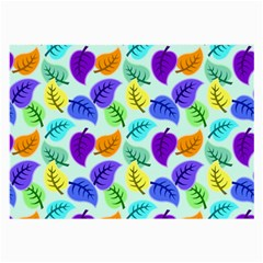Colorful Leaves Blue Large Glasses Cloth (2-side) by snowwhitegirl