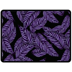 Tropical Leaves Purple Double Sided Fleece Blanket (large)