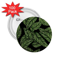 Tropical Leaves On Black 2 25  Buttons (100 Pack)