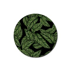 Tropical Leaves On Black Rubber Round Coaster (4 Pack)