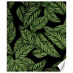 Tropical Leaves On Black Canvas 8  X 10  by snowwhitegirl