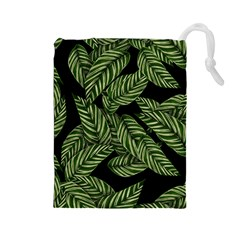 Tropical Leaves On Black Drawstring Pouch (large)
