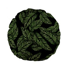 Tropical Leaves On Black Standard 15  Premium Flano Round Cushions by snowwhitegirl