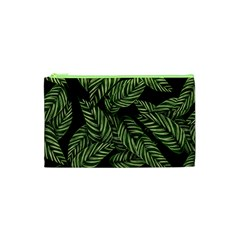 Tropical Leaves On Black Cosmetic Bag (xs)