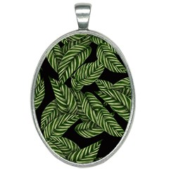 Tropical Leaves On Black Oval Necklace by snowwhitegirl