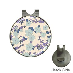Vintage Floral Blue Pattern Hat Clips With Golf Markers