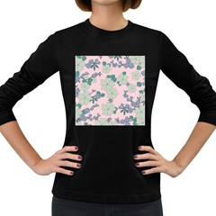 Vintage Floral Lilac Pattern Pink Women s Long Sleeve Dark T-shirt by snowwhitegirl
