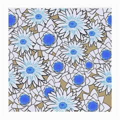 Vintage White Blue Flowers Medium Glasses Cloth (2-side) by snowwhitegirl