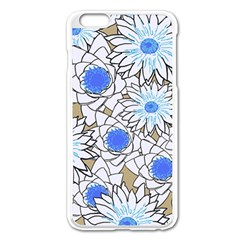 Vintage White Blue Flowers Apple Iphone 6 Plus/6s Plus Enamel White Case