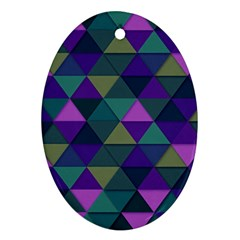 Blue Geometric Oval Ornament (two Sides)
