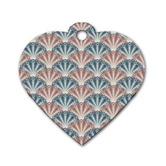 Vintage Scallop Blue Red Pattern Dog Tag Heart (two Sides)