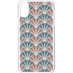 Vintage Scallop Blue Red Pattern Apple Iphone Xs Seamless Case (white) by snowwhitegirl