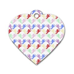 Colorful Cherubs White Dog Tag Heart (two Sides)