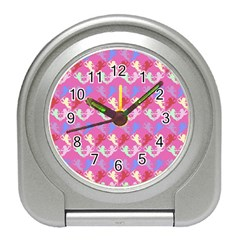 Colorful Cherubs Pink Travel Alarm Clock