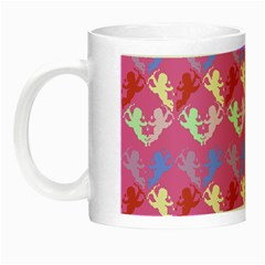 Colorful Cherubs Pink Night Luminous Mugs by snowwhitegirl