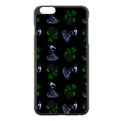Gothic Girl Rose Black Pattern Apple Iphone 6 Plus/6s Plus Black Enamel Case by snowwhitegirl