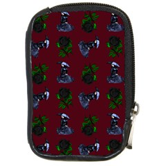 Gothic Girl Rose Red Pattern Compact Camera Leather Case by snowwhitegirl