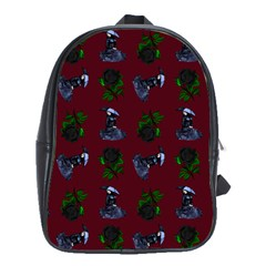 Gothic Girl Rose Red Pattern School Bag (large)