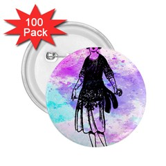 Vintage Girl Abstract Watercolor 2 25  Buttons (100 Pack)