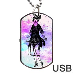 Vintage Girl Abstract Watercolor Dog Tag Usb Flash (two Sides) by snowwhitegirl