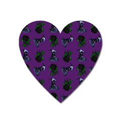 Gothic Girl Rose Purple Pattern Heart Magnet